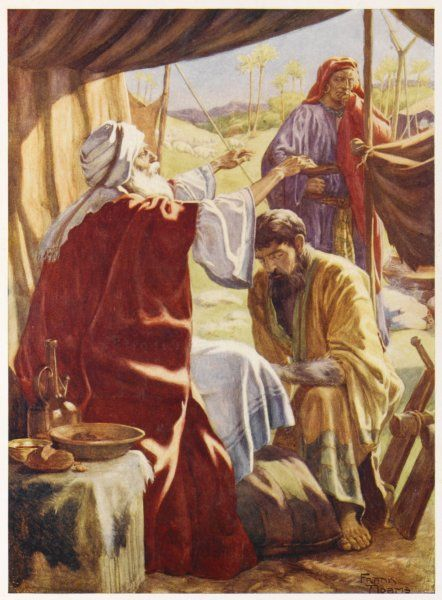Jacob puts a goatskin on his head and deceives his father Isaac into giving him his blessing instead of Esau, not really a very brotherly thing to do