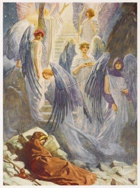 Jacob dreams of a staircase leading to Heaven, on which angels are passing some upwards, others downwards