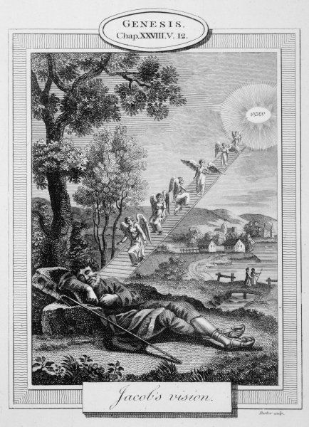 Jacob's dream of a ladder to Heaven. (From the book of Genesis)