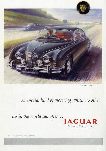 Advertisement for Jaguar cars featuring an illustration of the 3.4 Mark 2 Saloon being driven down the motorway by its proud owner who relishes the 'grace, pace and space&#39