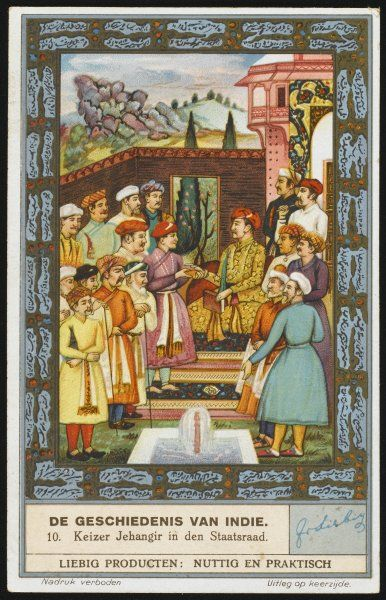 JAHANGIR, the fourth Mughal emperor, styles himself 'Conqueror of the world' ; depicted here with his court, he will be visited by envoys from England