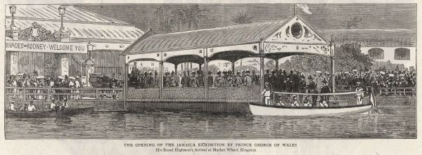 The opening of the Jamaica exhibition by Prince George of Wales: His Royal Highness's arrival at Market Wharf, Kingston