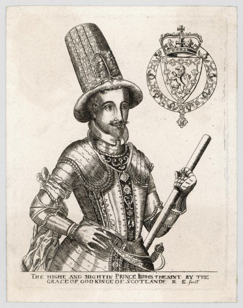 JAMES I of England James VI of Scotland in armour and high hat