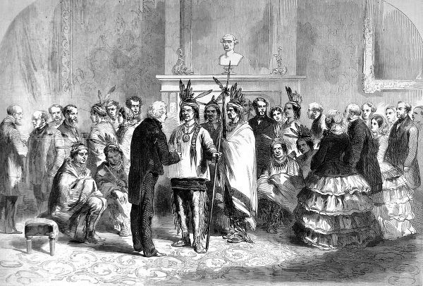 Illustration showing the President of the United States, James Buchanan, welcoming warring factions of American Indians into the White House, 1858. Representatives of the Pawnee and Poncas tribes were induced to shake hands by Buchanan
