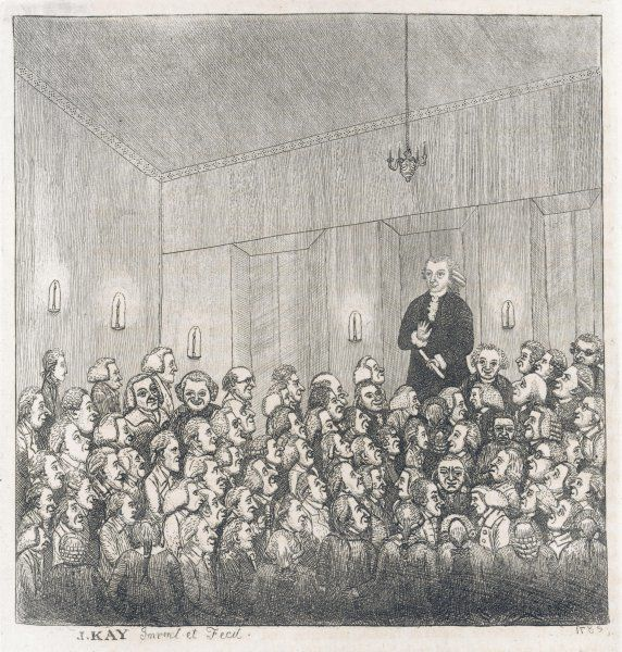 James Graham, famous Scottish quack doctor, delivers a lecture to an audience. In December 1783, Graham claimed that he knew the secret to living to the age of 150