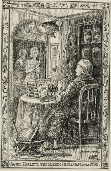 "Illustration of James Hallett, ""the Sussex Charlatan"" in his consulting room with ladies waiting outside the door, circa 1795, by Clifford Thompson, circa 1822. HPG/8/2/1 (xxii)&quot"