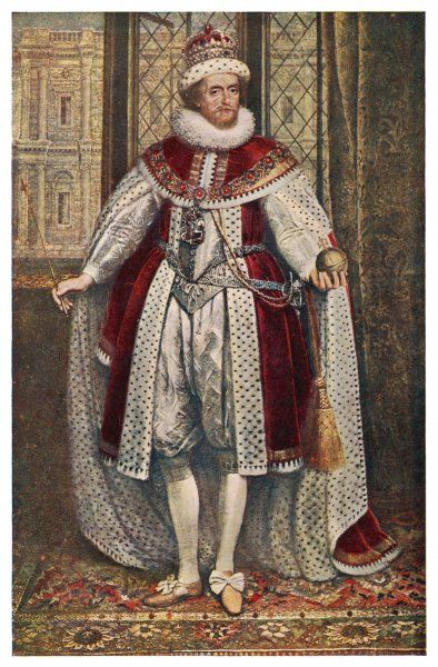 JAMES I of England James VI of Scotland in state robes, holding orb and sceptre