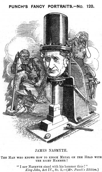 JAMES NASMYTH Scottish engineer, inventor of the steam hammer - hence this caricature. Date: 1808 - 1890