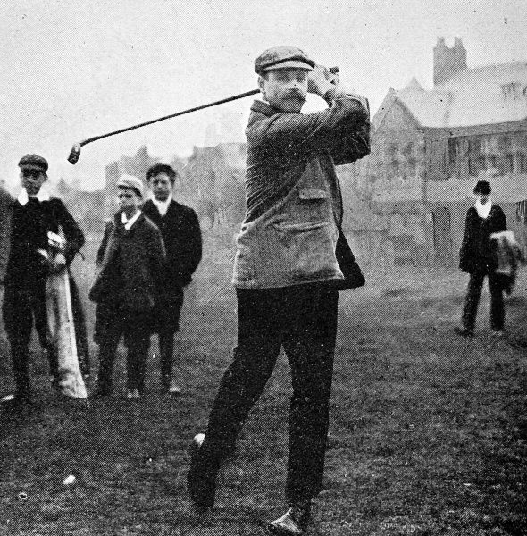 Photograph of James Robb, winner of the Golf Amateur Championship at Hoylake, May 1906. Mr. Robb, of Prestwick, St. Nicholas, beat Mr. C.C. Lingen, of Sunningdale, by 4 and 3 despite strong wind and rain during their tie