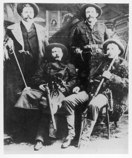 The James-Younger gang (l-r): Cole Younger, Jesse James, Bob Younger, Frank James
