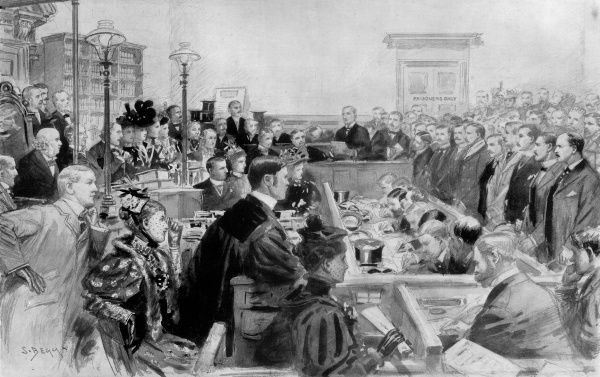 A court room scene in the trial of Doctor Jameson and his officers at Bow Street, February 25th 1896. The prisoners from left to right are as follows: H.N Grenfell, K.J.F Smith, C.H Villiers, J. Stracey, Hon. H. White, Raleigh Grey, Hon H.F Right