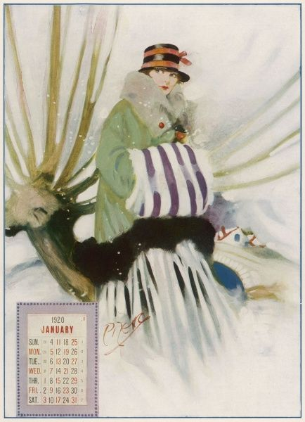 A pretty and fashionable young girl, wrapped up warm against the cold with a fur muff, fur trimmed coat and cloche style hat, is an appropriate representative for the chilly month of January