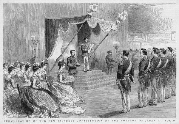 Promulgation of the New Japanese constitution by Emperor Meiji of Japan at Tokyo