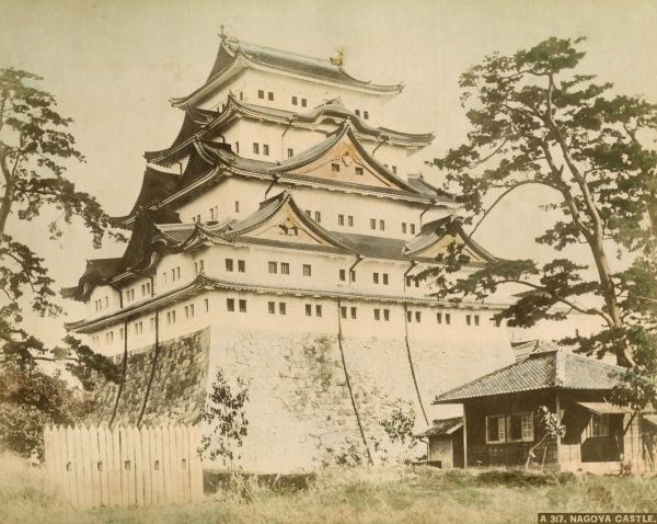 Nagoya Castle, built in 1612, mostly destroyed during the Second World War, and rebuilt during the 1950s. Date: circa 1900