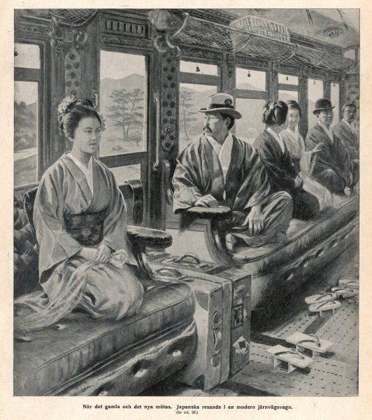 Passengers in a Japanese railway train sit in the way they are accustomed to