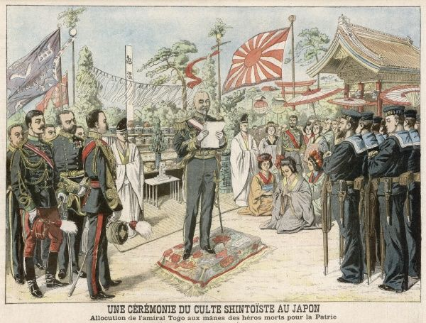 Admiral Togo at a Shinto ceremony in honour of those who died during the war with Russia