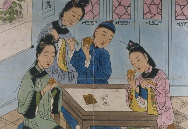 Japanese ladies playing cards