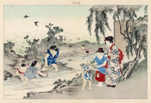 Japanese children play in a stream, one with a toy boat, two with baskets to catch fish while one drives the fish toward them, and holding a vessel in which to keep them