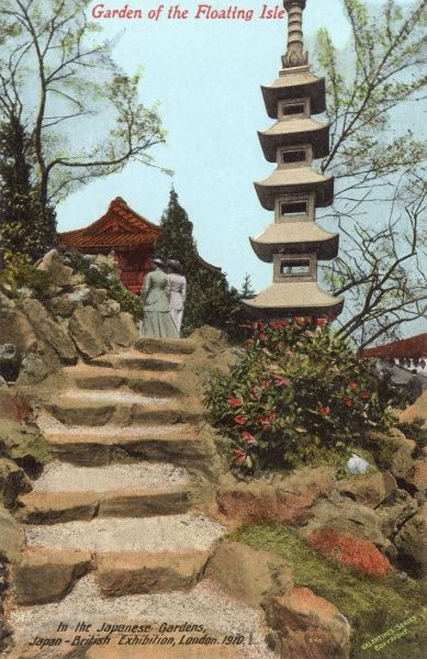 Garden of the Floating Isle in the Japanese Gardens, Japan British Exhibition, held at White City, West London. Date: 1910