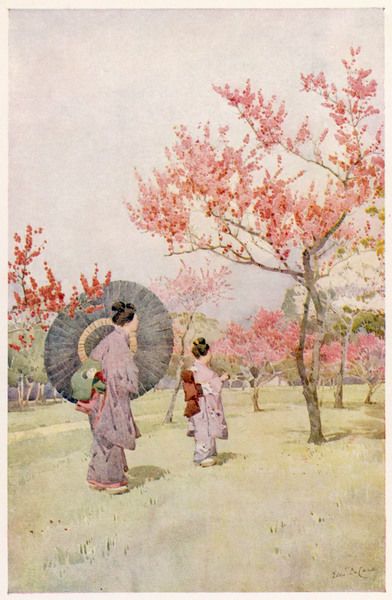 Two Japanese women admiring peach trees in blossom