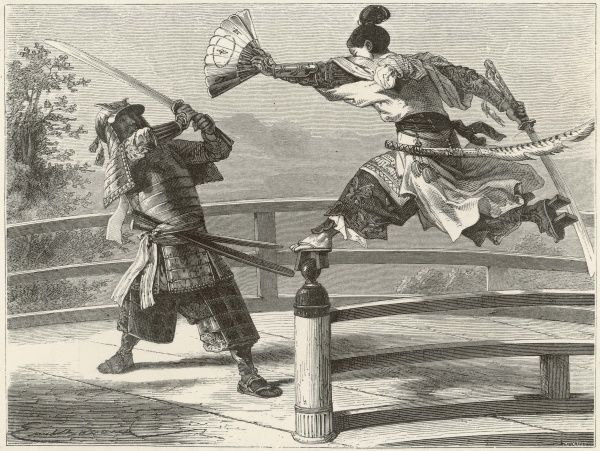 Samurai warriers fighting