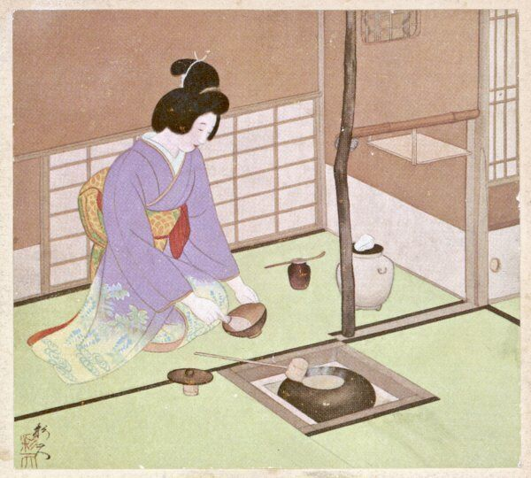 A Japanese lady makes the preparations for the elaborate tea ceremony