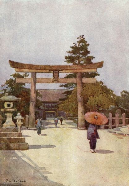 A temple with its torii (arch) in Japan Date: 1907