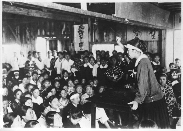 A speaker at a meeting of Japanese women strikers