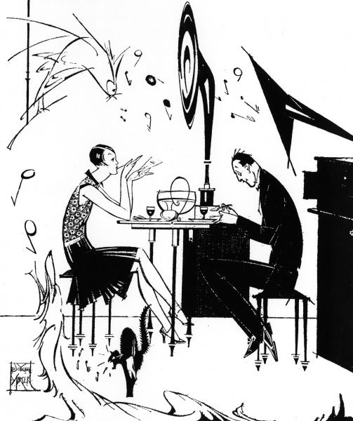 A couple listen to jazz over a rather fraught dinner. The dog, cat and pet bird screech while the music blares out of the gramophone. Date: 1929