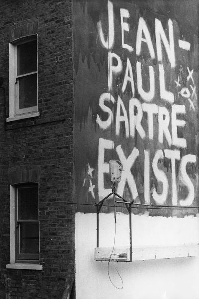 A graffiti comment on Jean-Paul Sartre (1905-1980), the French writer and philosopher -- no doubt a witty reference to his existentialist philosophy