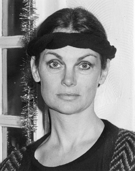 Jean Shrimpton (b 1942), nicknamed The Shrimp, fashion model and actress of the 1960s, an icon of Swinging London. Seen here at the age of 44 in a hotel in Penzance, Cornwall