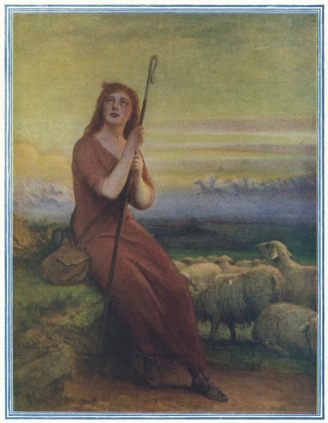 JOAN OF ARC Maid of Orleans, French saint and national heroine. Pictured having one of her regular divine visions while watching a flock of sheep