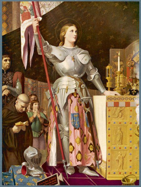 JEANNE D'ARC depicted looking very heroic, in armour, while priests pray all around her Date: 1412' - 1431
