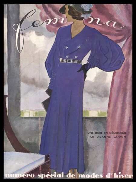 Front cover design by Lanvin showing a remuskah dress in purple with balloon sleeves, double breasted bodice, belted waist and contrasting hat, gloves and bag
