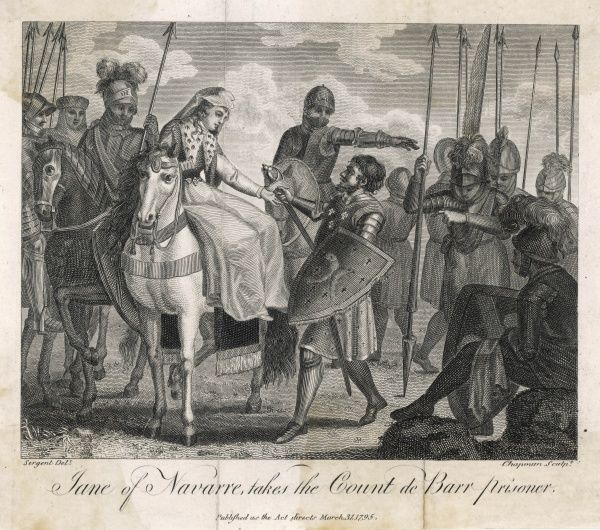 Jeanne de Navarre, queen of Navarre, weds Philippe IV uniting France and Navarre : when Henri comte de Bar, son- in-law of Edward I, rebels, she defeats and emprisons him