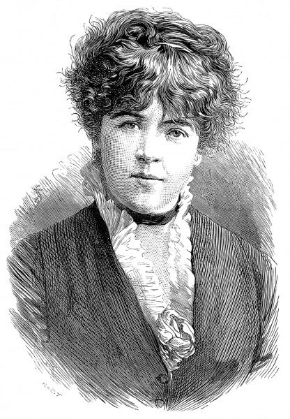 Engraved portrait of Jeanne Samary, the French actress, pictured in 1879 when playing with the 'Comedie Francaise&#39
