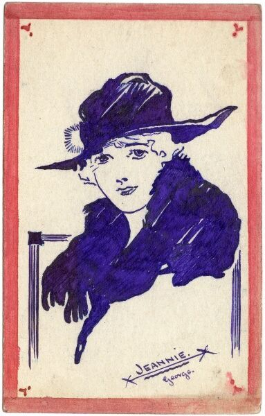 "Original illustration on a postcard depicting a young woman in a wide brimmed hat. It is inscribed ""Jeannie by George"". Jeannie was the fiancee and later wife of George Ranstead, the artist"