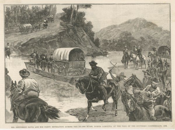 Mr Jefferson Davis and his party retreating across the Pe-Dee river, North Carolina, after the fall of the Southern Confederacy