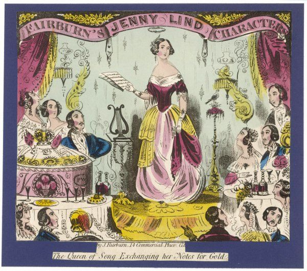 JENNY LIND Swedish soprano, known as 'The Swedish Nightingale' and 'The Queen of Song', depicted 'exchanging her notes for gold&#39