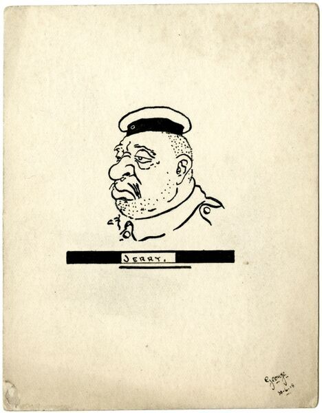 "A small pen and ink drawing on a postcard of a British soldier's impression of the enemy. Known as ""Jerry"" by the troops and the ""Hun"" by officers, the German soldiers were often caricatured by the British as ugly and porcine"
