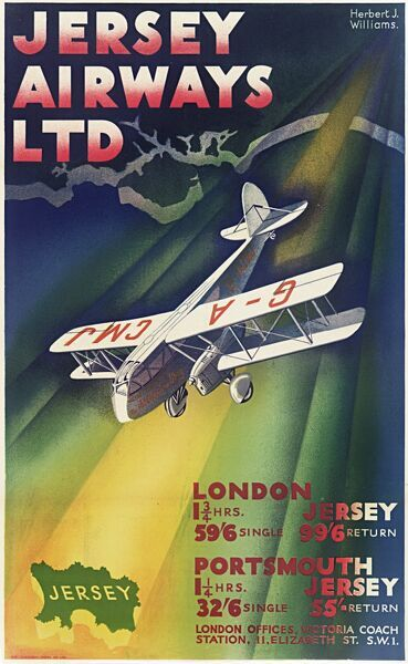Jersey Airways Ltd poster, showing a passenger biplane flying from the south coast of Britain to Jersey. Listing duration and costs of flights from London and Portsmouth.  20th century