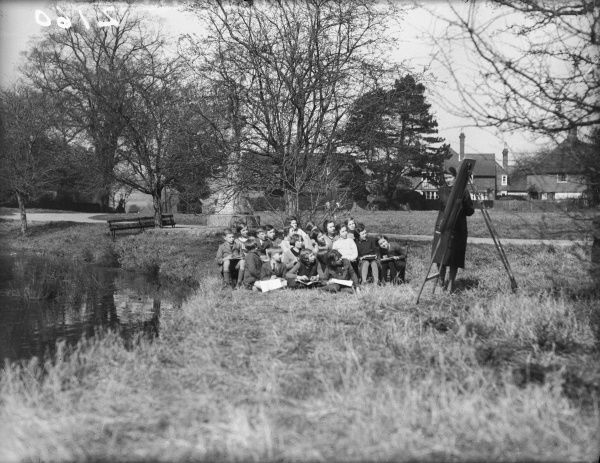 Children being taught in the open air at a school in Jersey, Channel Islands