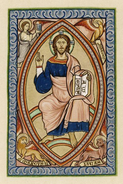 JESUS OF NAZARETH as depicted in a 12th century English psalter