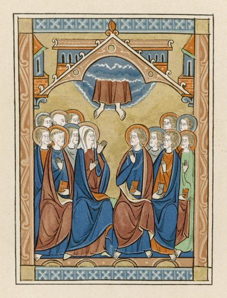 The disciples watch as Jesus is taken up into the clouds which conceal Heaven from mortal eyes - from a French psalter
