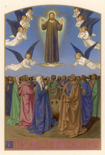 Mary and the apostles watch in amazement as Jesus returns to Heaven