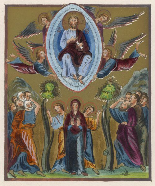 To the astonishment of his followers, Jesus is carried by angels to Heaven