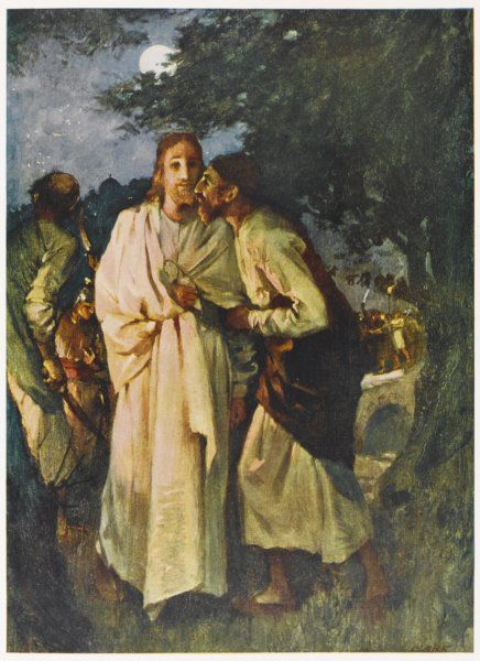 Judas kisses Jesus - identifying him to his enemies