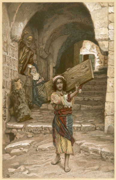 Jesus as a boy, carrying a wooden plank through the streets of Nazareth