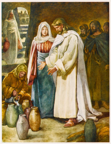 Invited to a wedding at Cana, when they run out of wine Jesus cleverly turns water into wine which is even better than what they have been drinking up to now
