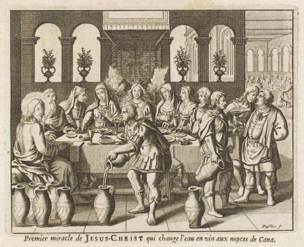 When the wine runs out at a wedding-feast at Cana, he changes water into wine that is better than the first